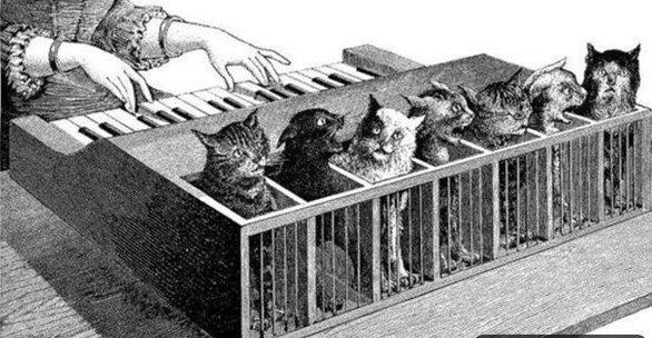 КОШАЧИЙ КЛАВЕСИН В средние века даже музыка была подчас весьма жестока. Например, у короля Испании Филиппа II «кошачий клавесин». Представлял он собой длинный ящик, разделенный перегородками на
