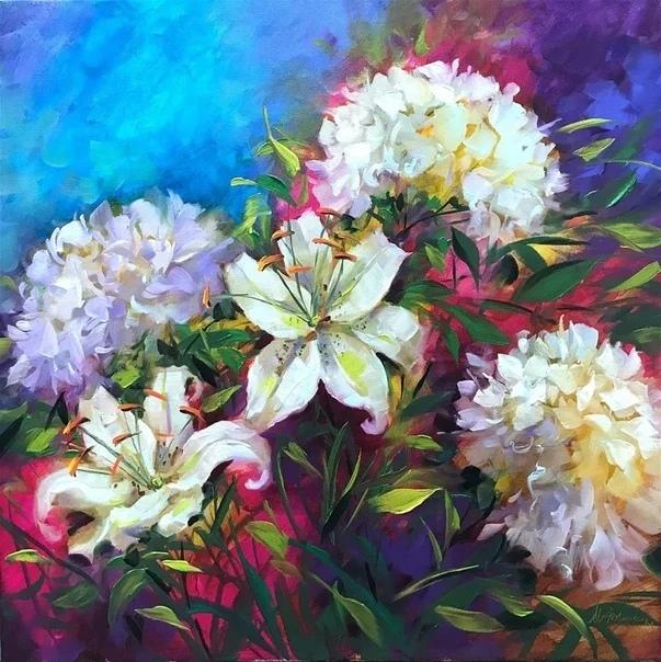 Художник Nancy Medina Нэнси - профессиональная современная художница из Америки. Рисует невероятной красоты цветочные натюрморты в стиле импрессионизма. Использует в своих работах яркие, чистые