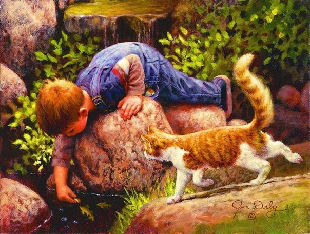 Джим Дейли. Джим пишет детей и животных, да так живо и трогательно, что кажется - это настоящие сюжеты из каких-то добрых фильмов...Каждый сюжет - что-то невероятно теплое, милое, идущее прямо