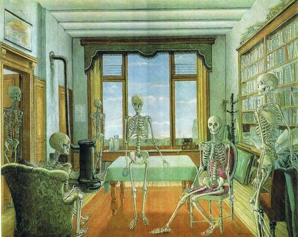 Скелеты Поля Дельво В школьные годы, Дельво обходил стороной музыкальный класс, в котором хранился скелет. Позже, как только вырос, обзавелся подобным наглядным пособием. Скелет, как и многие