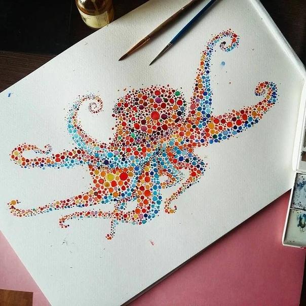 Ана Эншина родом из Лондона создает удивительные рисунки из обычных разноцветных точек