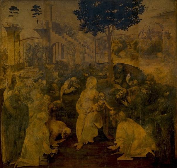 «Поклонение волхвов», Леонардо да Винчи 1481г. Доска, масло. Размер: 246 × 243 см. Галерея Уффици, ФлоренцияЛеонардо да Винчи не закончил картину «Поклонение волхвов», однако даже в том виде, в
