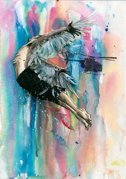 Волнующие картины Лоры Зомби Картины Лоры Зомби это соприкосновение наивного, доброго мира с жесткой реальностью. Впечатление от работ усиливается множественными подтеками краски и чернил,