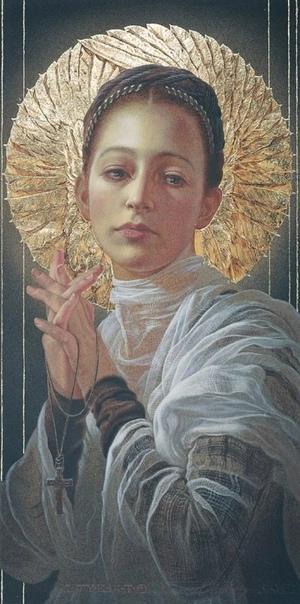 Его картины богаты символикой, так как он пишет их, чтобы выразить свою веру Бог присутствует во многих из них, что зачастую выражается в изображении нимбов, крестов и использовании 23-каратного