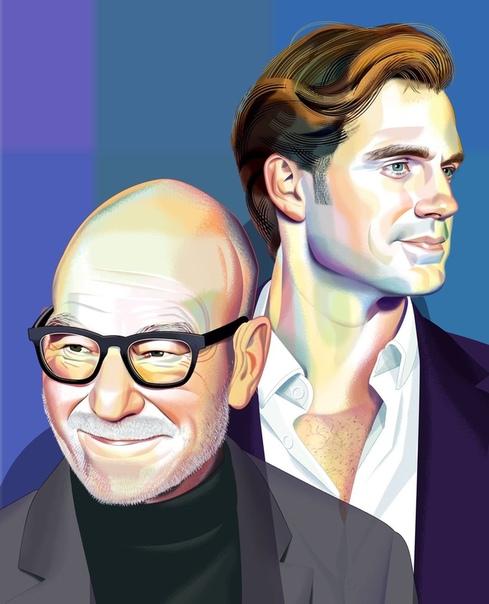 Генри Кавилл и Патрик Стюарт на иллюстрации для издания Variety